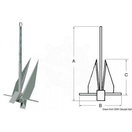 Ancre Danforth, modèle original 6,3 kg