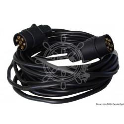 Câble de rallonge remorque 2 fiches/7 pôles 7 m
