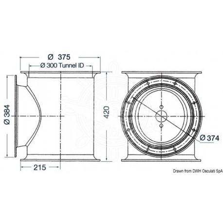 Tunnel LEWMAR pour hélice de poupe Ø 300 mm