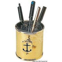 Porte-crayons en laiton poli décoré
