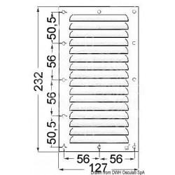 Grille aération inox poli 232x127 mm