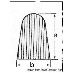 Profil teck en croissant 28x20 mm