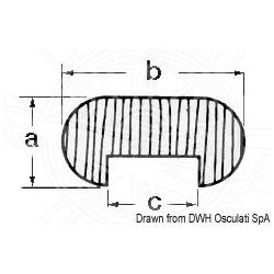 Profil teck ovale 12,5x25x12,5